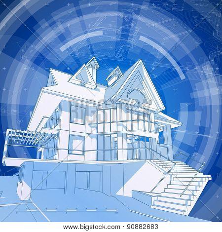 Architecture design: blueprint 3d house, plan & blue technology background - vector illustration