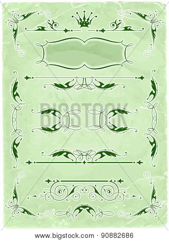 Vintage calligraphic frames & old paper background / vector illustration / eps10