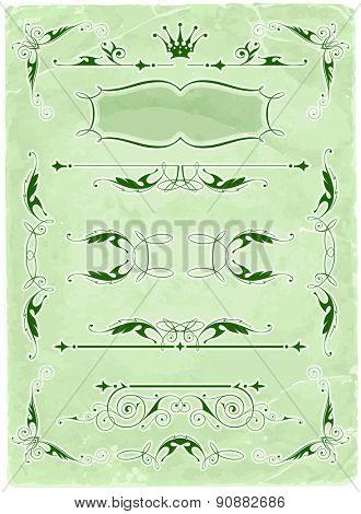 Vintage calligraphic frames & old paper background / vector illustration / eps10