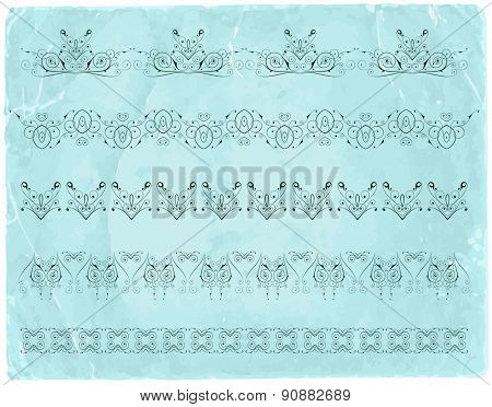 Vintage calligraphic borders & old paper background / vector illustration / eps10