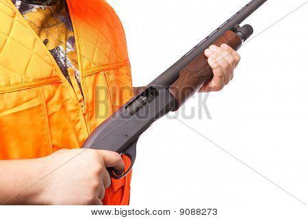 Hunter Holding A Shotgun