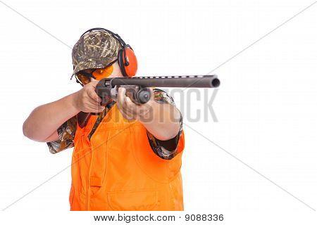 Hunter Pointing Shotgun
