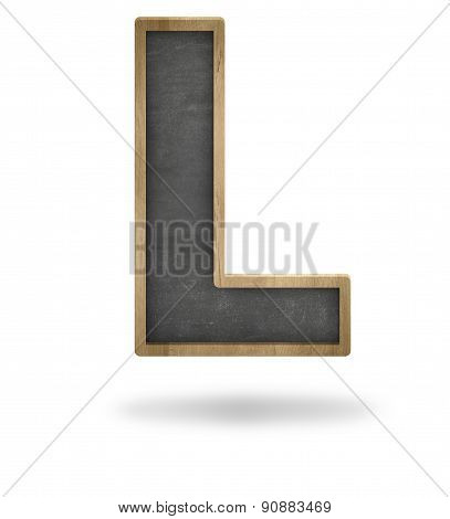 Black blank letter L shape blackboard