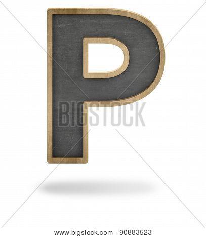 Black blank letter P shape blackboard