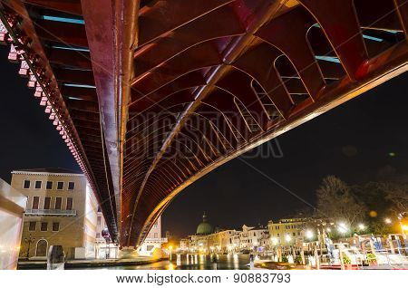 The Constitution Bridge in Venice at night