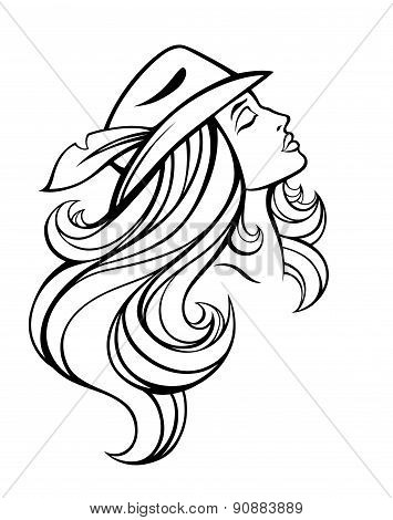 Vector Stylized Portrait Of Cartoon Pretty Fashion Girl With Long Hair In Hat Isolated On White. Lin