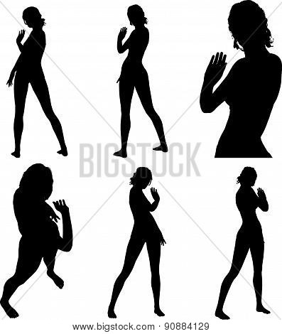Woman Silhouette With Hand Gesture Greet