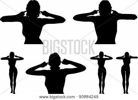 Woman Silhouette With Hand Gesture Turn A Deaf Ear