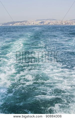 background the sea with waves and European side