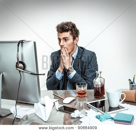 Man Shocked Looking What Happened With His Computer / Modern Office Man At Working Place, Depression
