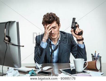 Young Businessman With Gun Wants To Commit Suicide / Modern Office Man At Working Place, Depression