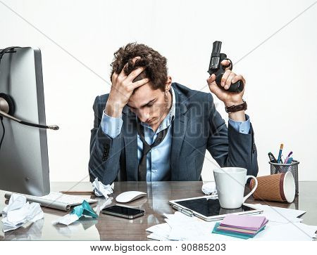 Manager With Gun Wants To Commit Suicide  / Modern Office Man At Working Place, Depression And Crisi