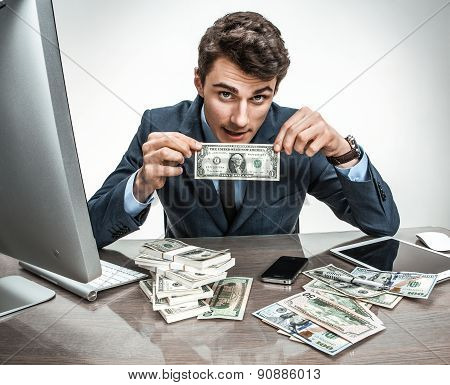 Clerk Showing His Profit, Income, Earnings, Gain, Benefit, Margin / Modern Office Man At W