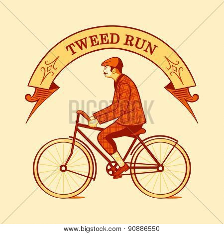 Tweed run retro cycling event symbol isolated
