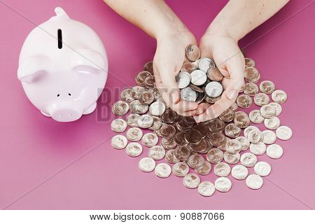 Savings Piggybank With Coins