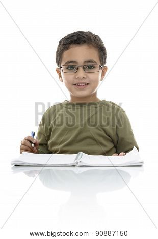 Happy Adorable Young Schoolboy Studying