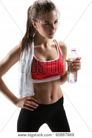 Confident Gym Woman With Water Bottle / Photo Set Of Sporty Muscular Female Brunette Girl Wearing Sp
