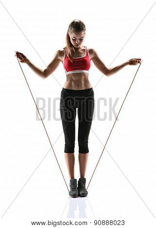 Young Woman Doing Exercise With A Skipping Rope / Photo Set Of Sporty Muscular Female Brunette Girl