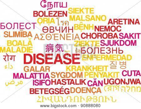 Background concept wordcloud multilanguage international many language illustration of disease