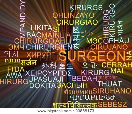 Background concept wordcloud multilanguage international many language illustration of surgeon glowing light