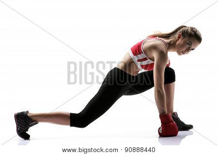 Sporty Brunette Girl Doing Lunges / Photo Set Of Sporty Muscular Female Brunette Girl Wearing Sports