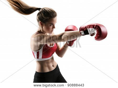 Boxer Woman During Boxing Exercise Making Direct Hit With Red Glove / Photo Set Of Sporty Muscular F