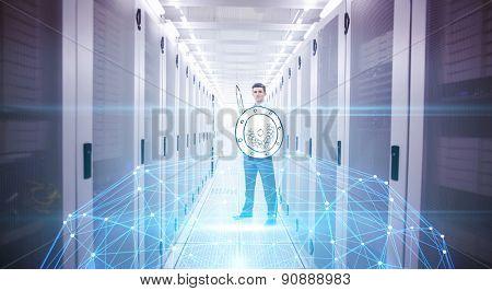 Glowing sphere on black background against data warrior