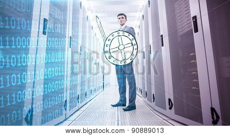 Shiny blue binary code on black background against data warrior