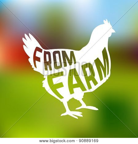 Silhouette of farm Hen with text inside on blur background isolated