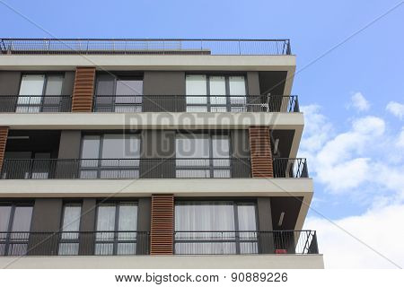 Facade of stylish modern building