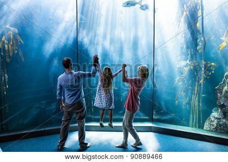 Parents lifting their dauhter behind the fish tank at the aquarium