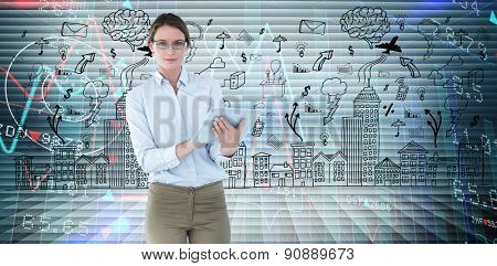 Businesswoman using tablet pc against stocks and shares