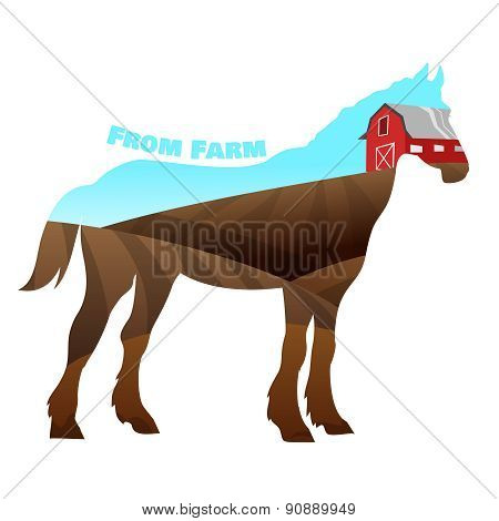 Concept of horse silhouette with text on farm background