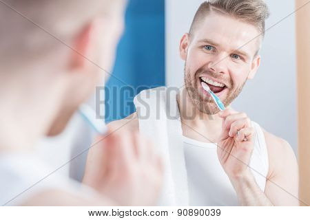 Attractive Man Brushing His Teeth