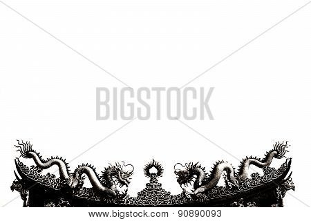 Abstract Black And White Two Dragons