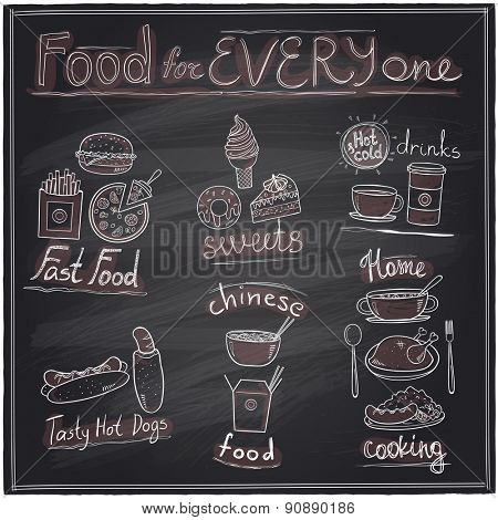 Food for every one, hand drawn assorted food and drinks graphic symbols chalkboard design.