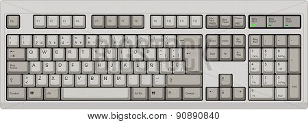 Spanish Qwerty Sp Layout Keyboard. Grey