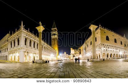 San Marco square at night in Venice