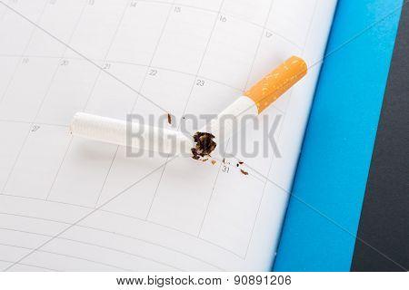 World No Tobacco Day : Broken cigarette  on calendar