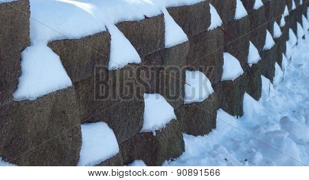 Rock Wall During Winter