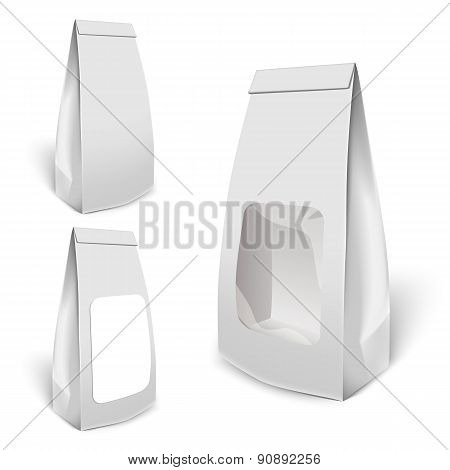 Set Of White Mockup Foil Food Bag Package
