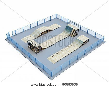 Skate Park With Several Elements