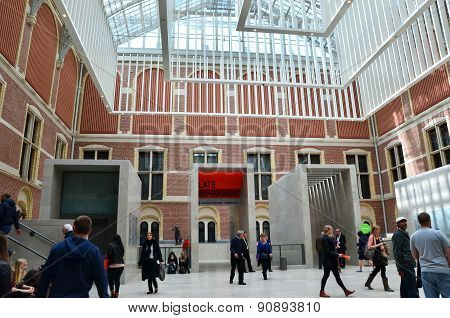 Amsterdam, Netherlands - May 6, 2015: Tourist In The Modern Atrium Rijksmuseum
