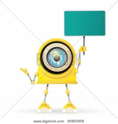 vector orange cartoon robot isolated on white