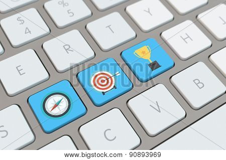 Symbol for business goals and success on a computer keyboard (3D Rendering)