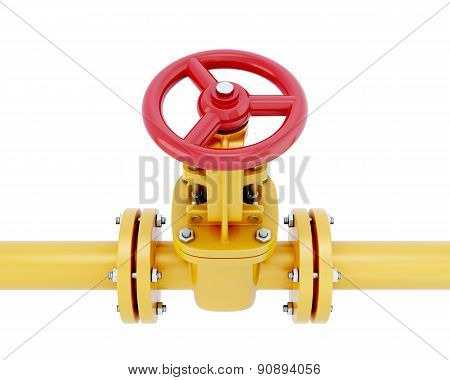 Gas Pipeline Element Close-up With The Valve