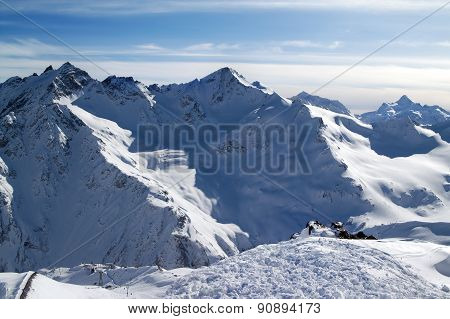 Snowy Off-piste Slopes At Evening