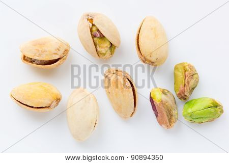 Isolated pistachios close up