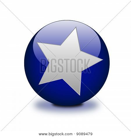 Blue sphere with star