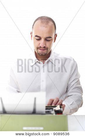 Man With Vintage Typewriter